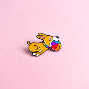 Doggo (rainbow) — enamel pin