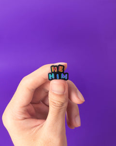 He / Him Pronouns — enamel pin