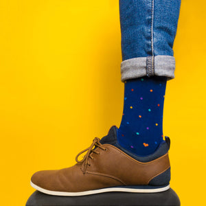 Rainbow dots (navy) — socks