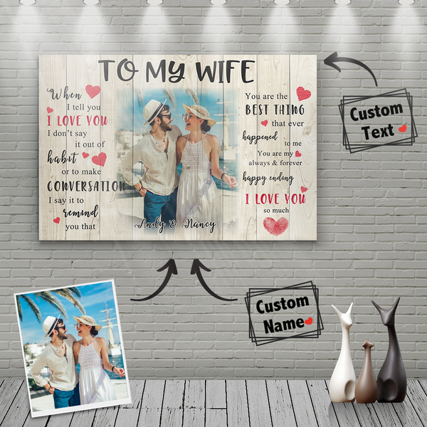 Valentine's Gift Custom Photo Wall Decor Family Painting Canvas With Couple Name