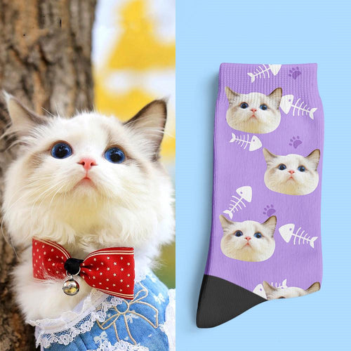 Photo Socks, Custom Cat Face Socks Gift