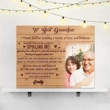Custom Photo Wall Decor Painting Canvas With Text Gift - To Best Grandpa