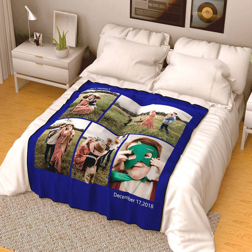 Best Gifts For Mom-Personalized Photo Blanket Fleece with Text - 5 Photos