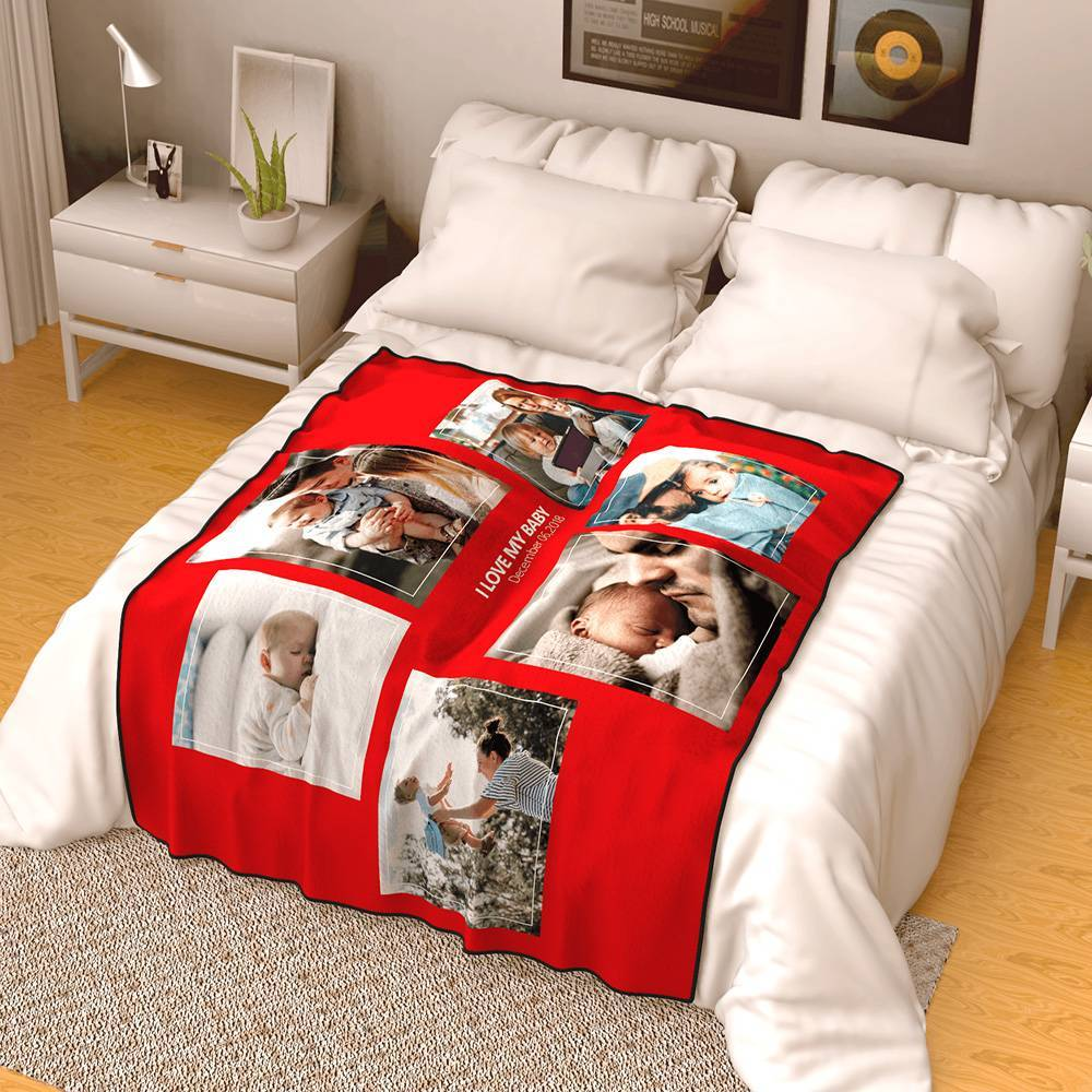 Personalized Famliy Photo Fleece Blanket with Text - 6 Photos