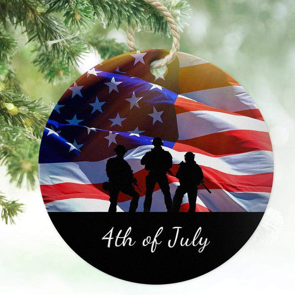 Custom Photo and Text Ornament for Independence Day For Party
