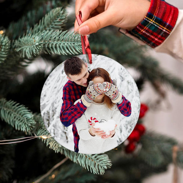 Personalized Couple Photo Christmas Tree Ornament