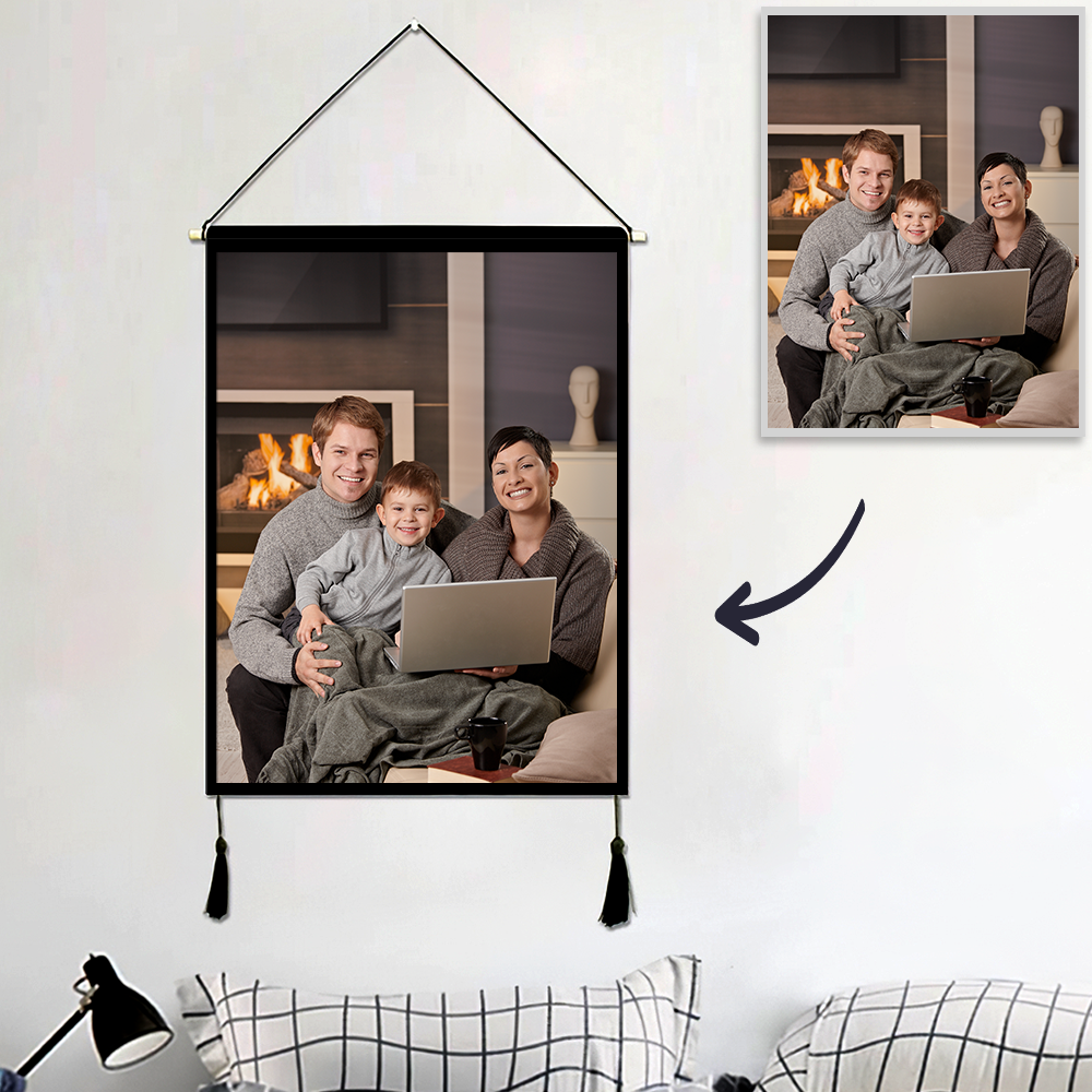 Custom Family PhotoWall Tapestry Personalized Wall Hanging