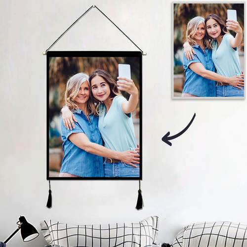 Custom Mother and Daughter Photo Wall Tapestry Personalized Wall Hanging