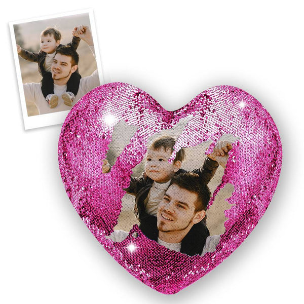 Custom Photo Magic Heart Sequin Pillow