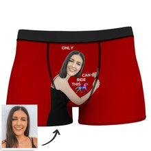 Custom Girlfriend Face Boxer Shorts - Love Hug To Him