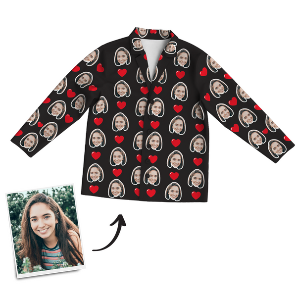 Custom Photo Long Sleeve Pajama Top, Sleepwear, Nightwear - Heart