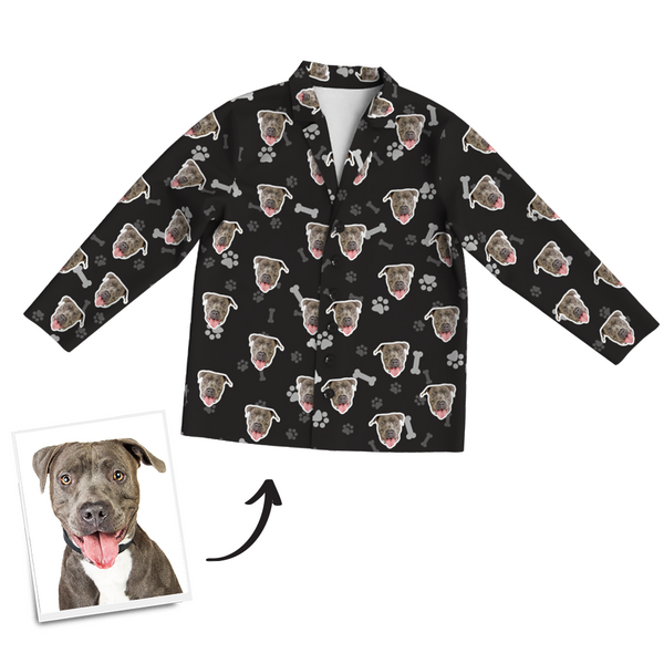 Custom Dog Photo Long Sleeve Pajamas, Sleepwear, Nightwear - Bone