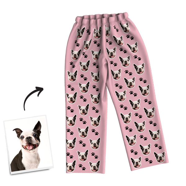 Custom Dog Photo Long Sleeve Pajamas, Sleepwear, Nightwear