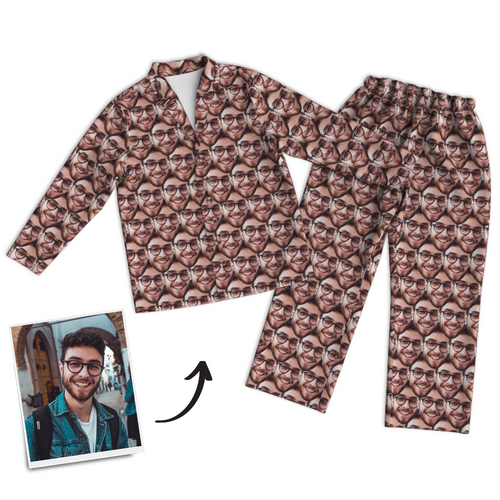 Custom Photo Face Mash Long Sleeve Pajamas, Sleepwear, Nightwear