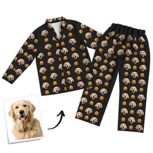 Custom Pet Photo Long Sleeve Pajamas, Sleepwear, Nightwear