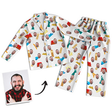 Custom Face Photo Pajama Pants Travel Around The World, Nightwear