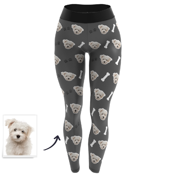 Custom Pet Dog Face Personalized Leggings - Custom Yoga Pants