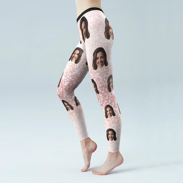 Custom Face Shiny Pink Low Rise Leggings