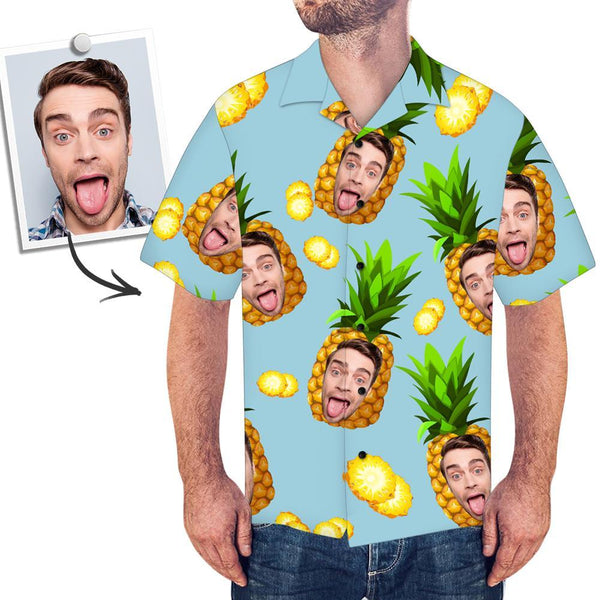 Custom Face Shirt Men's Hawaiian Shirt Big Pineapple Beach Summer Short Sleeve Hawaiian Shirt
