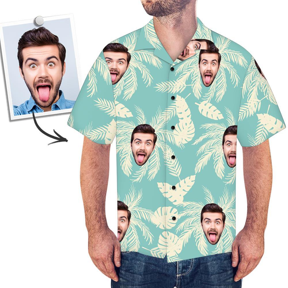 Custom Face Shirt Men's Hawaiian Shirt Simple Color Matching