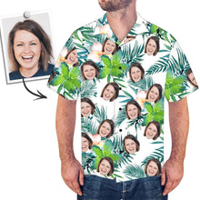 Custom Face Shirt Men's Hawaiian Shirt Green Flower