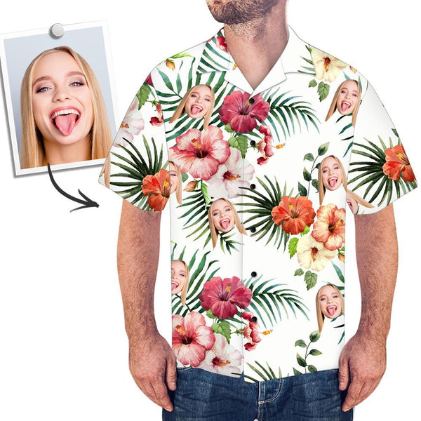 Custom Face Shirt Men's Hawaiian Shirt Colorful Flowers Beach Summer Short Sleeve Hawaiian Shirt