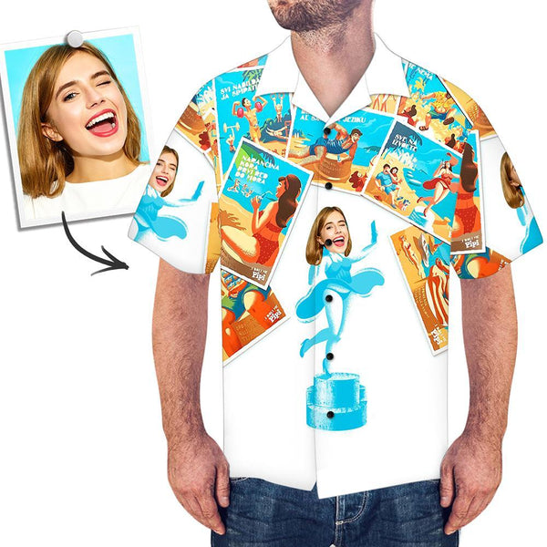 Custom Face Shirt Men's Hawaiian Joining Together Photos