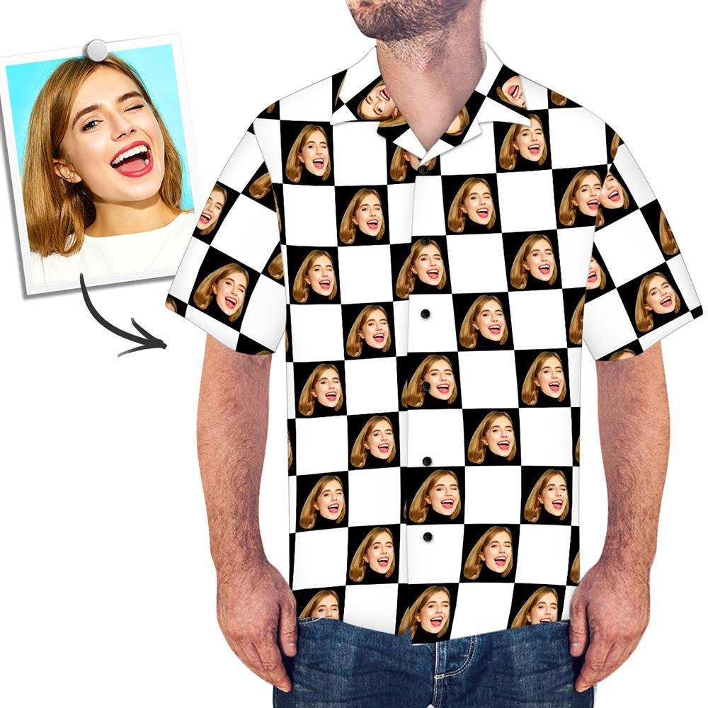 Custom Face Shirt Men's Hawaiian Square Grid