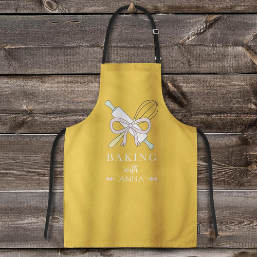 Custom Text Adjustable Bib Apron For Kitchen Cooking Restaurant BBQ Painting Crafting Yellow