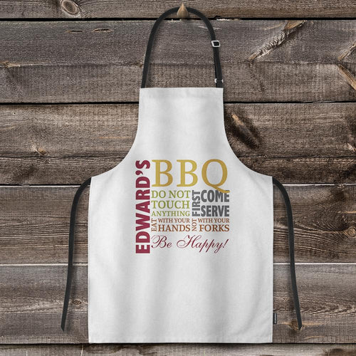 Custom Text Adjustable Bib Apron For Kitchen Cooking Restaurant BBQ Painting Crafting White