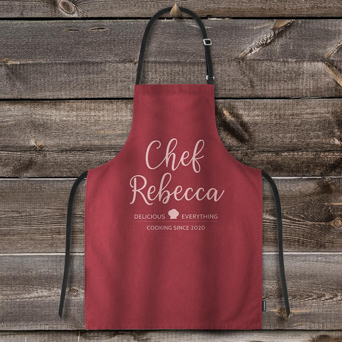 Custom Text Adjustable Bib Apron For Kitchen Cooking Restaurant BBQ Painting Crafting Red