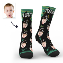 Halloween Custom Castle Witch Photo Socks With Text