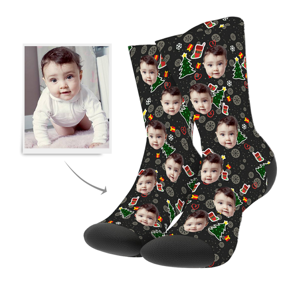 Christmas Custom Tree Hero Photo Socks