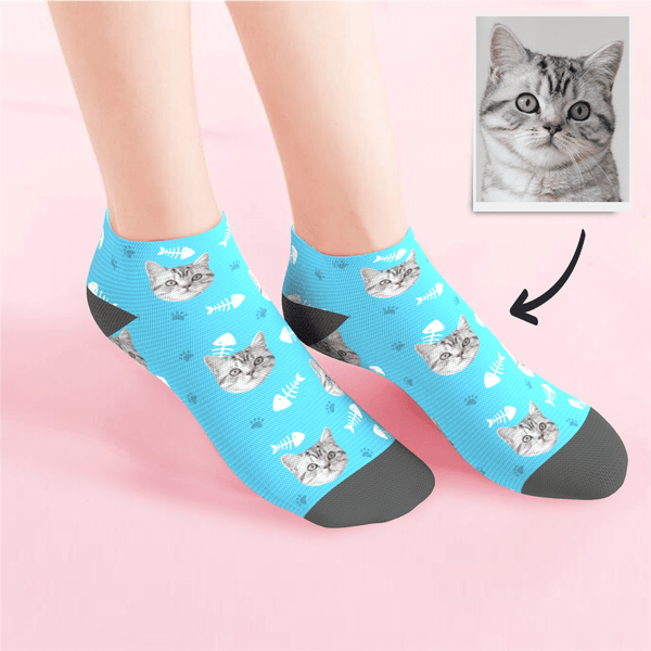 Custom Low Cut Ankle Face Socks Cat - CustomPhotoSocks