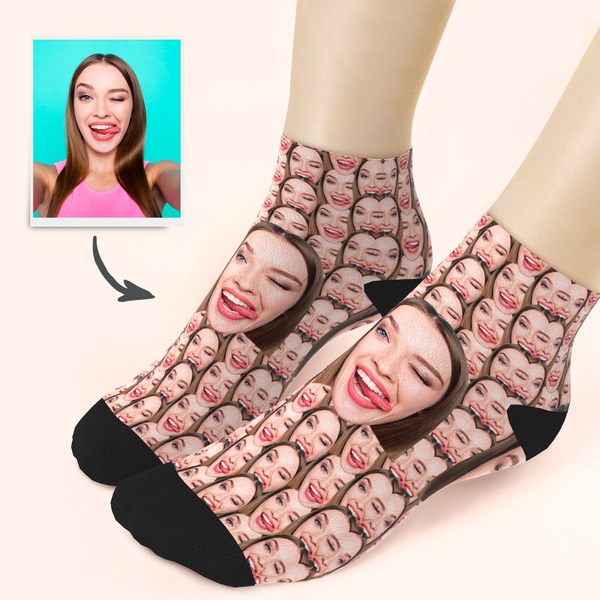 Custom Girlfriend Smile Face Ankle Socks