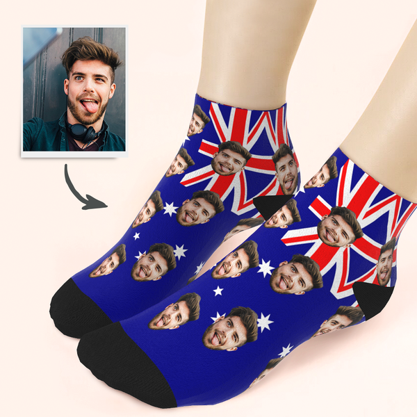 Custom Husband Face Australia Flag Ankle Socks