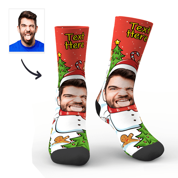 Christmas Custom Funny Expression Socks With Text