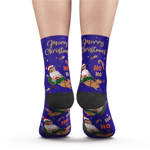 Custom Merry XMAS Photo Socks With Text