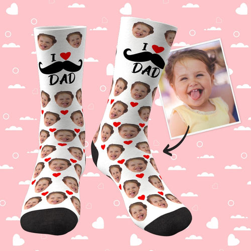 Custom Face Socks Heart I Love Dad Best Gifts For Dad
