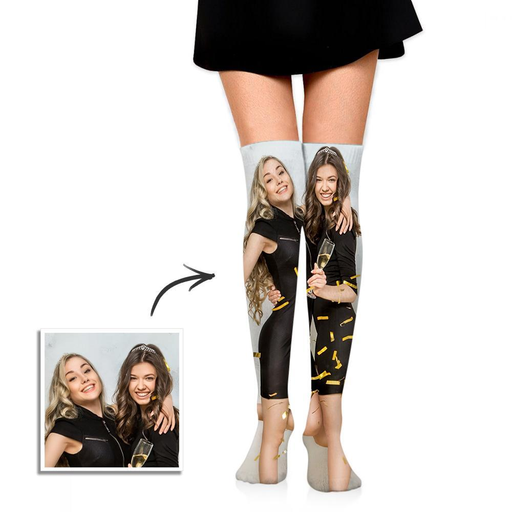 Personalized Photo Socks Knee High Printed Picture Adult Tube Socks