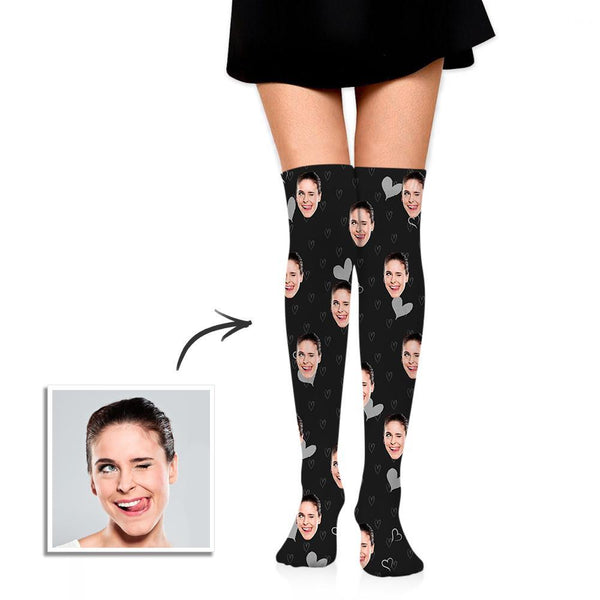 Personalized Socks Knee High Printed Picture High Tube Socks with Little Hearts
