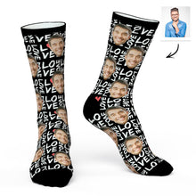 Custom Face Socks Personalized Photo Socks Black Love