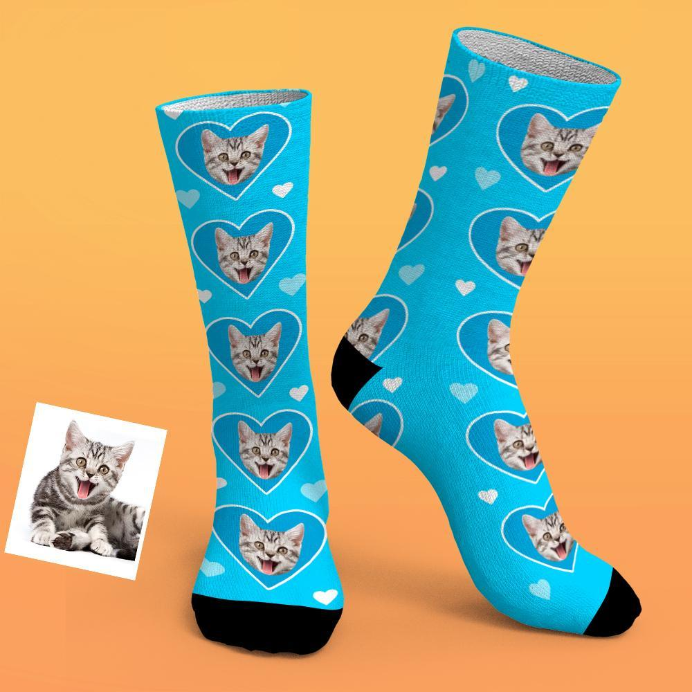 Custom Photo Socks With Love Heart