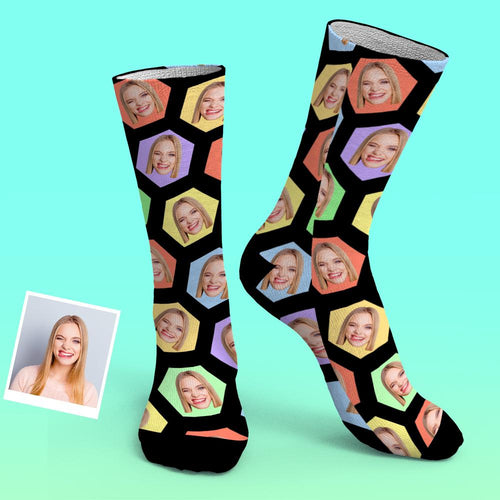 Custom Photo Socks Hexagon PersonalisedSocks