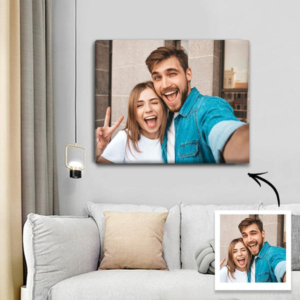 Custom Couple Photo Wall Decor Painting Canvas With Frame