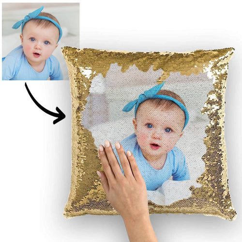 Custom Baby Photo Magic Sequins Pillow Multicolor Shiny 15.75*15.75