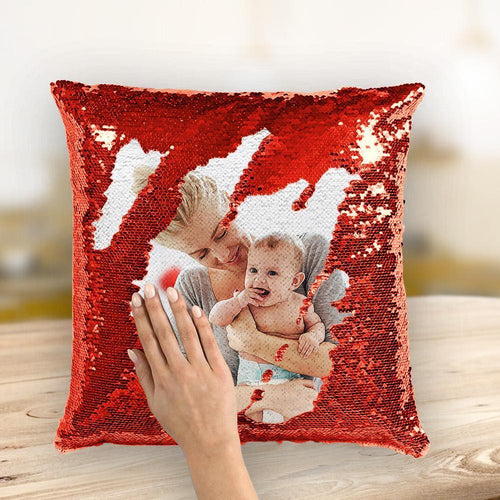 Couple Photo Personalized Magic Sequins Pillow Multicolor Shiny 15.75*15.75