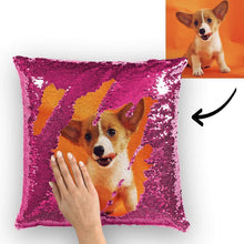 Custom Pet Photo Magic Sequins Pillow Multicolor Shiny 15.75*15.75