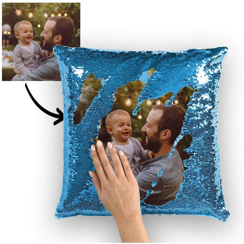 Custom Family Photo Magic Sequins Pillow Multicolor Shiny 15.75*15.75