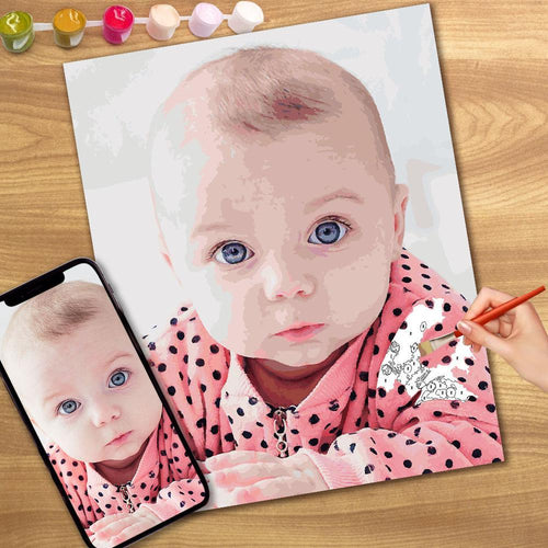 Custom Baby Photo DIY Paint by Numbers Wall Decor Digital Oil Painting Canvas 20cm*25cm